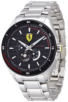 SCUDERIA Ferrari GRAN PREMIO Watch. Red accents leap from the black dial of this dynamic Gran Premio watch created by Ferrari. Round stainless steel case, 47mm, with black bezel Black skeleton dial with stick indices and Ferrari logo. Automatic movement. Water resistant to 30 meters. Two-year limited warranty.