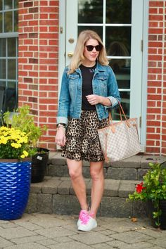 casual skirt outfit for fall, leopard skirt for fall, fall outfit with skirt, skirt and sneakers, leopard skirt, denim jacket, wine please tee How To Wear Sneakers, Skirt And Sneakers, Casual Skirt Outfits, Fall Outfits, Lace Bag, Leopard Skirt, Fall Skirts, Latest Outfits, Fall Trends