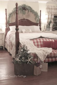 cottage bedroom decorated for Christmas! Love it!