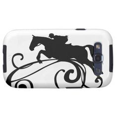 Classy and stylish equestrian hunter jumper horse and rider phone case for the horse lover.