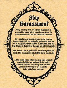 Stop Harassment Spell, Book of Shadows Page, BOS Pages, Real Witchcraft, Wicca