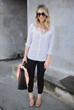 Thursday - black pants, polka dot shirt (tuck/untuck?) with tan Oxford shoes. I need all pieces to this outfit!