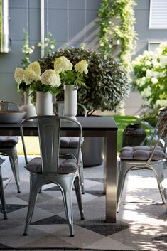 Hunenberg House - The Patio Dining Area - In Good Company Patio Dining, Dining Area, Dining Chairs, Good Company, Table Decorations, House, Furniture, Home Decor, Decoration Home
