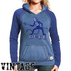 Original Retro Duke Blue Devils Women's Two-Toned V-Neck Hooded Sweatshirt - Duke Blue - $39.99