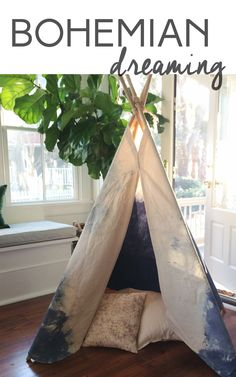 """This boho chic, dip-dyed tipi is a hip """"statement piece"""" and gorgeous addition to any nursery, bedroom or home! Comes with hand-carved  natural wood poles for a rustic look - already pre-lashed together for easy setup!  Stands up at about 5.5 ft tall, is lightweight canvas and easy to store.  Shop the entire tipi collection on our site now!"""