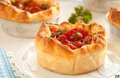 Tomatentaartjes met Parmaham en ricotta