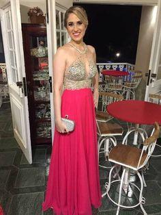 Halter Chiffon Charming Custom Made Long Prom Dress,Evening Dress,Prom Dresses
