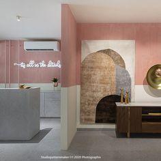 Showroom Interior Design, Terrazzo Tile, Scrap Material, Retail Store Design, White Tiles, Bespoke Furniture, Wall Treatments, Color Pallets, Design Firms