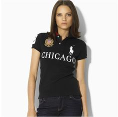 Ralph Lauren Womens Skinny-Fit Chicago City Short-sleeved Polo Black
