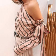 FREE SHIPPING Striped Blouse Women One Shoulder Tops Sexy Long Sleeve Bow Shirts Female Fashion Women's Blouses 2019 JKP1795