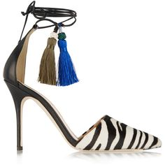 J.Crew Zebra-print calf hair and leather pumps ($525) ❤ liked on Polyvore featuring shoes, pumps, heels, animal print, zebra print pumps, tie shoes, ankle strap pumps, high heel shoes and animal print heels pumps