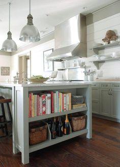 Open Island Shelves Cabinets Cookbooks