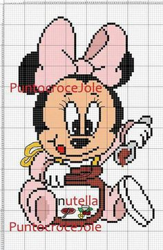 Minnie Mouse with nutella Graphgan Minnie Mouse Blanket, Mickey Mouse, Cross Stitch Baby, Cross Stitch Charts, Cross Stitch Patterns, Pixel Crochet Blanket, Corner To Corner Crochet, Stitch Cartoon, Bobble Stitch