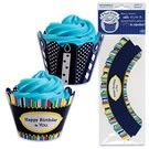 Happy B-Day Cupcake Wrappers - 48 pcs  These reversible cupcake wraps will bring a fun accent to your birthday. Indigo blue background with birthday greeting and colorful striped border on one side, flip around and you have white and deep blue funky candles. These treat wrappers fit a standard sized cupcake and the size is adjustable to fit your cupcake. 48 pcs