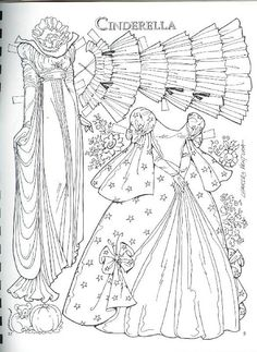 Cinderella by Charles Ventura Paper Doll Craft, Doll Crafts, Paper Toys, Paper Crafts, Colouring Pages, Adult Coloring Pages, Coloring Books, Art Origami, Paper Dolls Clothing