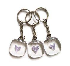 Fused glass heart keyrings
