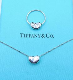 bf6cbc887 Reserved Authentic Tiffany & Co Elsa Peretti Bean Necklace and Swivel Ring  Set - Ring Size 5 - Sterling Silver - Kidney Bean Set # 4477