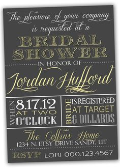 chalkboard style invitation - I love how they incorporated another color