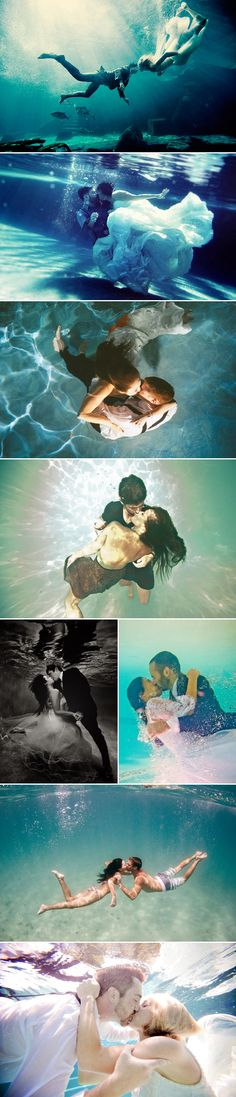 Dive into the pool of love for your pre-wedding photography! Talking about unique and creative ideas for engagement photos, there is a new trend that has to be seen to be believed – underwater engagement photos. Underwater Wedding, Underwater Photos, Underwater Photography, Couple Photography, Wedding Photography, Levitation Photography, Exposure Photography, Winter Photography, Abstract Photography