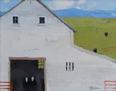 Black Cows, White Barn | From a unique collection of landscape paintings at https://www.1stdibs.com/art/paintings/landscape-paintings/