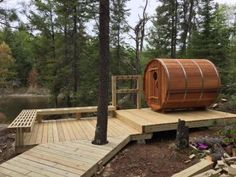 8 x 6 Barrel Sauna Barrel Sauna, Deck, Woodworking, Backyard, Interior Design, Outdoor Decor, Home Decor, Wood, Nest Design