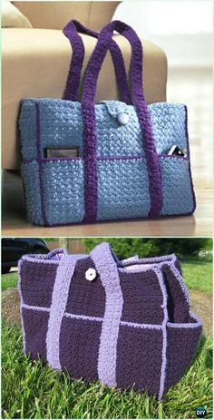 Crochet Eight-Pocket Carryall Tote Free Pattern - Crochet Handbag Free Patterns Instructions