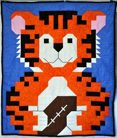 Tiger Football Quilt Pattern in 3 sizes - PDF