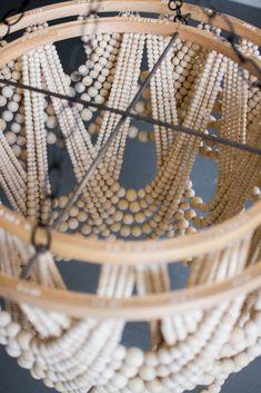 DIY Bead Chandelier - The House That Lars Built - Kronleuchter Handmade Home Decor, Diy Home Decor, Pottery Barn Hacks, Diy Luminaire, Wood Bead Chandelier, Chandeliers, Pendant Lamps, Pendant Lights, Chandelier Lighting