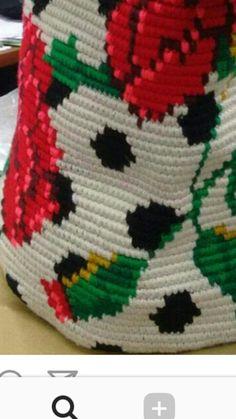 Wayuu Mochila bag polka dot and roses