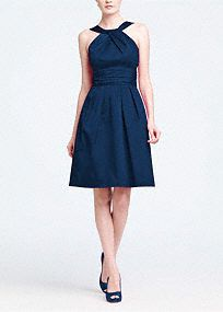 This short cotton dress is flattering and comfortable.   The Y neck detail adds interest while the skirt pleating and sleeveless silhouette keep the look young.  Wear again with heels or with casual sandals.  Versatile style that can be worn for many seasons.  Fully lined. Back zip. Dry clean only.  Get inspired by our colors..   To protect your dress, try our Non Woven Garment Bag.