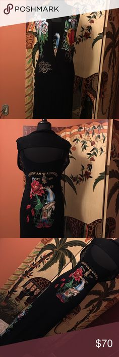 Gorgeous Christian Audigier Halter Maxi Dress Size Large, Maxi Dress worn twice in good condition, price is firm, this dress is long with a halter piece attached tank and Embellished with rhinestones and tattoo print Christian Audigier Dresses Maxi