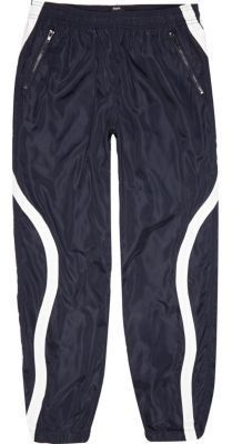 River Island Mens Navy Christopher Shannon panel joggers