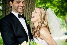 Cute couple laughing at joyful Connecticut wedding with photos by JAG Studios | via junebugweddings.com