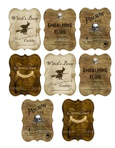 Halloween Drink Labels for Bottles - Digital Collage Sheet - - DIY Printable.