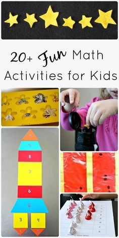Collection of math activities for kids. Includes ideas for preschool, kindergarten, and more.