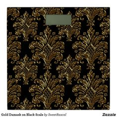 Gold Damask on Black Scale Bathroom Scale