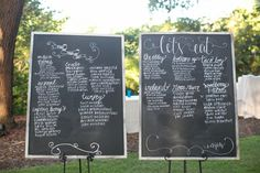chalkboard table assignments and menu | Dana Cubbage #wedding