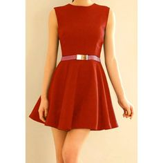 Zipper Sleeveless Simple Style Polyester Round Neck Women's Dress (Without Belt), RED, M in Dresses 2014   DressLily.com