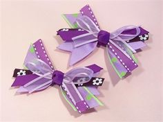 Picture of Purple/Lavender Layered/Stacked Hair Bow Piggie/Pigtail Set