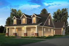 <div><ul><li>Three charming dormers top the roof of this neat and trim Country house plan.</li><li>Tapered columns set on brick bases support the covered front porch.</li><li>The L-shaped living area inside is all open concept, expanding the feeling of the home.</li><li>The efficient kitchen offers a walk-in pantry and a sink with a view of the backyard.</li><li>Sliding glass doors in the dining area take you to the rear patio.</li><li>The great big master bedroom is on the first floor with…