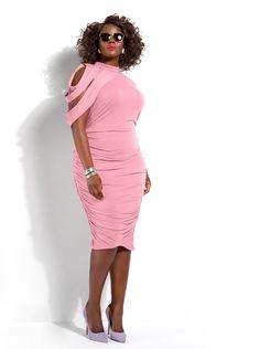 """Dahlia"" Ruched Dress -Pink Rose - Clothing - Monif C Plus Size Wedding Guest Dresses, Plus Size Dresses, Plus Size Outfits, Curvy Fashion, Girl Fashion, Plus Size Fashionista, Looks Plus Size, Full Figure Fashion, Plus Size Fashion For Women"