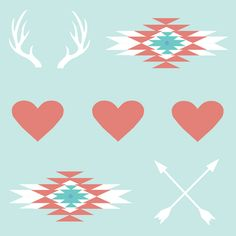 hearts & arrows & antlers fabric by roseandpistachiopress on spoonflower