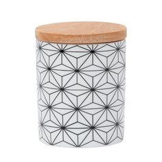 Black GEO Starburst Ceramic Canister with Wooden Lid Glazed Ceramic with bamboo lid.Air tight seal Printed decal