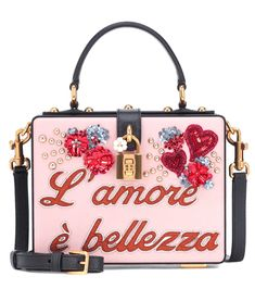 DOLCE   GABBANA   Dolce Box L amore Leather Shoulder Bag - Nero Rosa Carne     Sold Out  was    1,617, was    2,695   The Italian phrase for