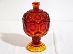 Early Amberina Glass Covered Candy Container.Stands app.8 1/2 tall.