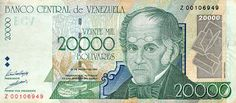 Billete del Banco Central de Venezuela. 20000 Bolívares. Fecha Agosto 24 1998. Serie Z8.