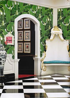 The whimsical, tropical, truly glamorous Brazilliance wallpaper, by Dorothy Draper in the Greenbrier Hotel.