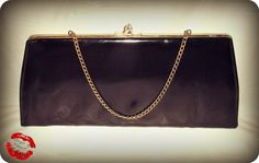 Vintage 60s Black Patent Clutch Handbag Rainbow Lining 50s MADMEN MOD Purse by IntrigueU4Ever, $29.00