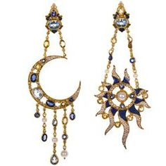 "Diego Percossi Papi's Sole e Luna earrings ""The sun and moon earrings are born in the late '70s,"" says the designer, who opened his small atelier in 1968 in the center of Rome."