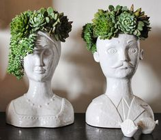 """The coolest application for a """"chia pet"""" that I've ever seen. Beautiful succulent hair for these beautiful ceramic busts. /// via Oh Joy. Suculentas Diy, Cactus Y Suculentas, Garden Art, Home And Garden, Chia Pet, Head Planters, Hanging Planters, Cacti And Succulents, Succulent Planters"""